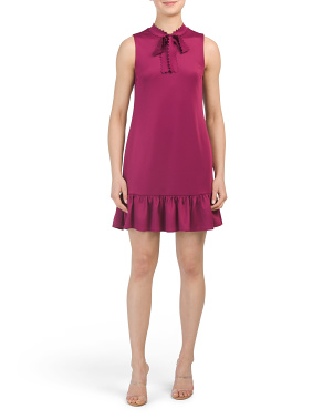 Petite Tie Neck Dress With Flounce Hem
