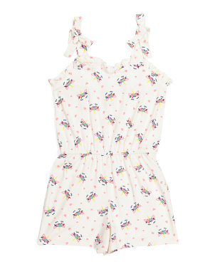 Little Girls Unicorn Ruffle Romper