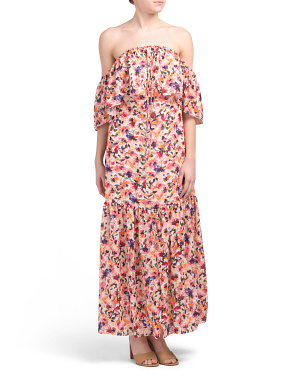 Off The Shoulder Halter Tie Printed Tiered Maxi Dress