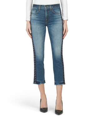 Made In Usa High Waist Embellished Denim Jeans