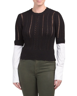 Pointelle Twofer Sweater