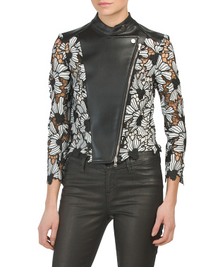 Faux Leather & Lace Jacket