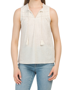 Sleeveless Split Neck Top With Crochet Detail