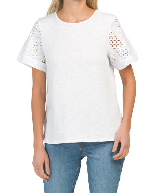 Short Sleeve Tee With Eyelet Detail