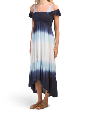 Off The Shoulder Hi-lo Tie Dye Cover-up Maxi Dress