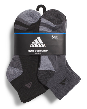 6pk 3 Stripe Quarter Socks