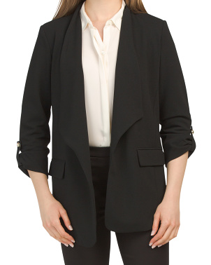 Three-quarter Sleeve Stretch Crepe Blazer