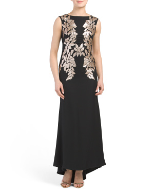 Petite Embroidered Gown With Paillette Detail