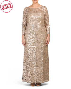 Plus Long Sleeve Sequins Embroidered Gown