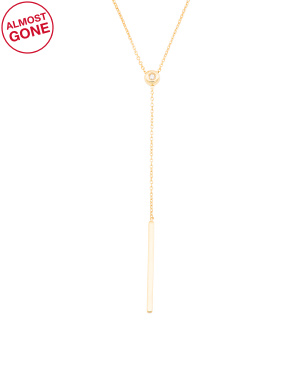 Made In Italy 14k Gold Cz Bar Y Necklace