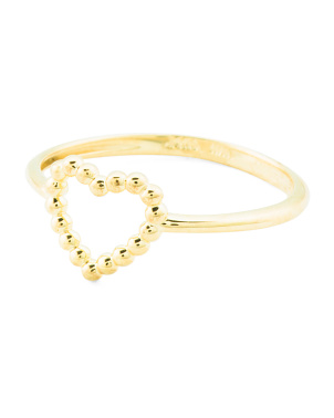 Made In Italy 14k Gold Open Heart Beaded Heart Ring