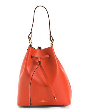 Made In Italy Leather Bucket Drawstring Crossbody