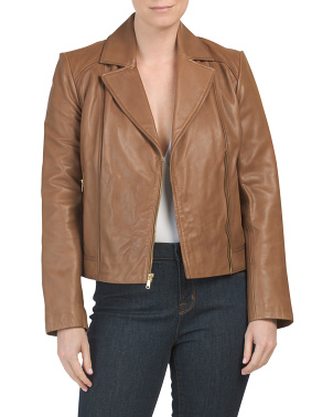 Genuine Leather Asymmetrical Zip Front Jacket