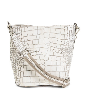 Made In Italy Leather Croco Bucket Crossbody