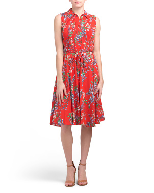 Floral Pintuck Button Placket Midi Dress