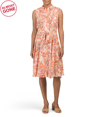 Sleeveless Paisley Pintuck Pleat Midi Shirt Dress