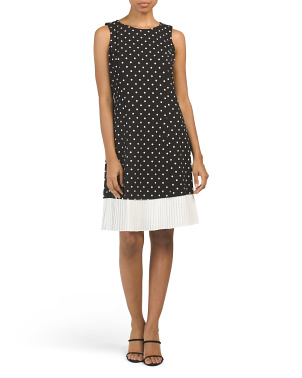 Sleeveless Polka Dot Shift Dress