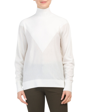 Intarsia Regal Wool Mock Neck Sweater