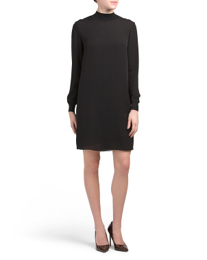 Mock Neck Silk Dress