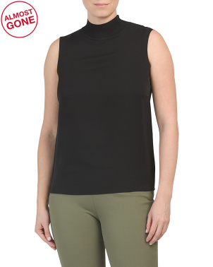 Silk Blend Ribbed Neck Shell Top