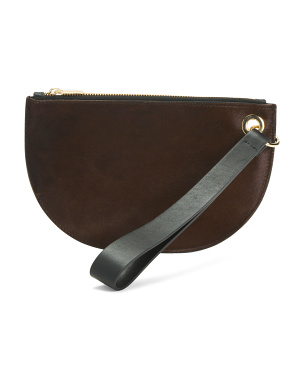 Made In Italy Leather Half Moon Pouch