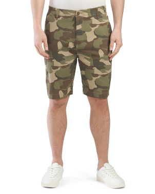 Camo Print Stretch Twill Flat Front Shorts