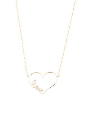 Made In Italy 14k Gold Love Script Heart Necklace