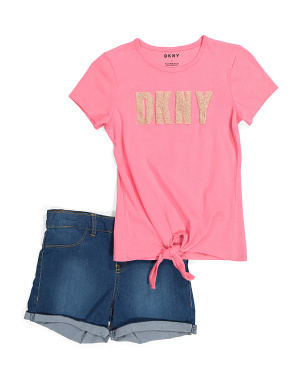 Little Girls 2pc Logo Short Set