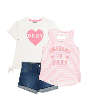 Little Girls 3pc Logo Short Set