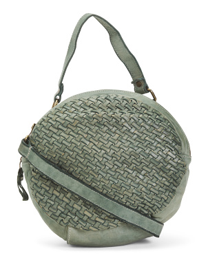 Made In Italy Leather Round Woven Crossbody
