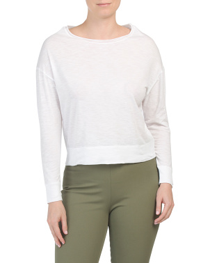 Pima Cotton Boat Neck Pullover Top