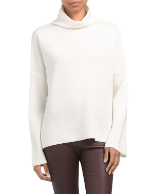Wool Blend Funnel Neck Pullover Sweater