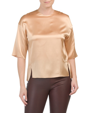 Silk Satin Short Sleeve Tee