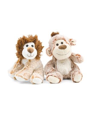 Set Of 2 Lion & Money Plush Dog Toys With Squeaker