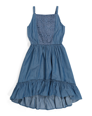 Big Girls Chambray Lace Dress