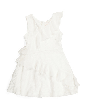 Big Girls Lace Ruffle Dress