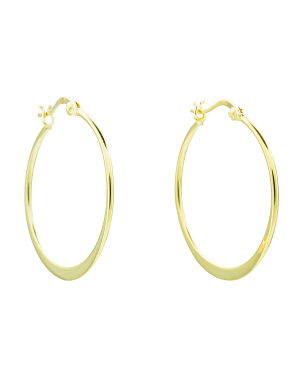 Sterling Silver 35mm Flat Hoop Earrings