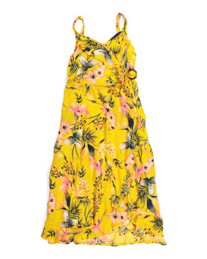 Big Girls Floral Wrap Maxi Dress