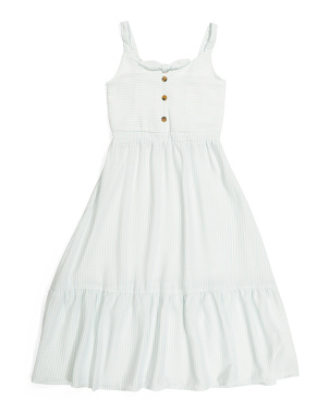 Big Girls Tie Front Striped Dress