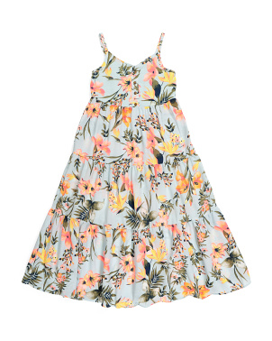 Big Girls Tropical Floral Maxi Dress