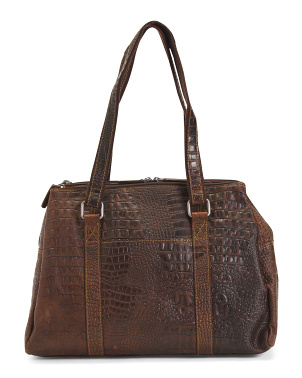 Leather Croco Satchel