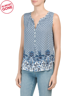 Sleeveless Rosette Stamped Top