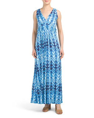 Tie Dye Sleeveless V-neck Maxi Dress