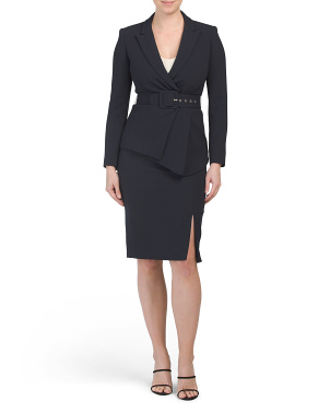Petite Belted Jacket With Pencil Skirt Set