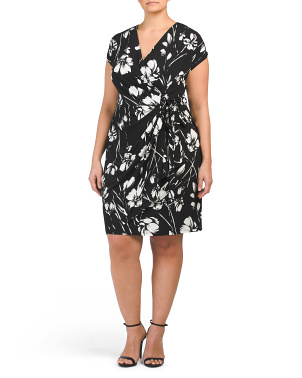 Plus V-neck Wrap Dress
