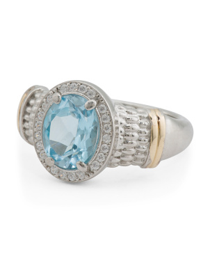 Made In Italy 14k Gold And Sterling Silver Blue Topaz Ring