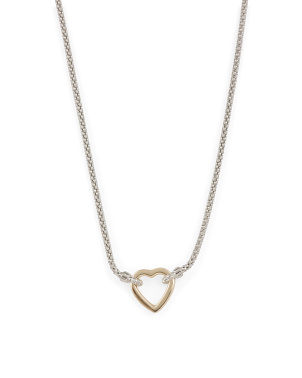 Made In Italy 14k Gold And Sterling Silver Heart Necklace