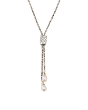 Made In Italy 14k Gold Sterling Silver Pearl Lariat Necklace