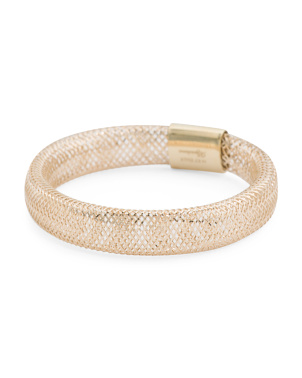 Made In Italy 14k Gold Flex Mesh Stretch Ring