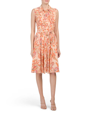 Paisley Pintuck Bodice Midi Dress